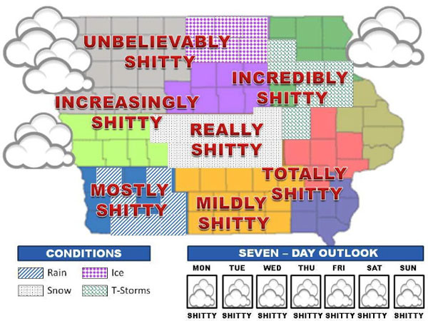 Shortarmguy's Crazy Emails: Iowa Weather Map